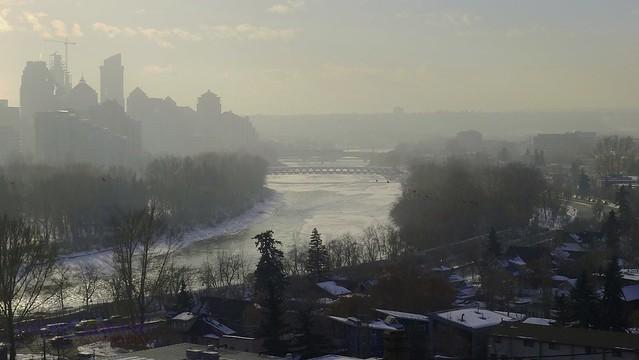 sun is burning through the frozen mist
