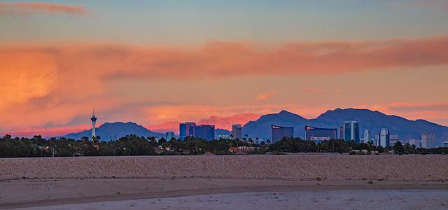 Las Vegas night city skyline panorama with strip hotels and casinos
