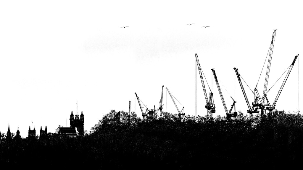 Horizon with abbey and cranes