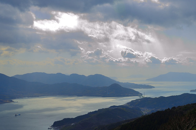 Light leaking through a break in the clouds over Setouchi-Sea.