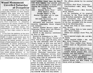 2021-01-30. Wood Monument Unveiled, News, 8-21-1924