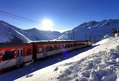 Vlakové nádraží v mezistanici Nätschen (1842 m)
