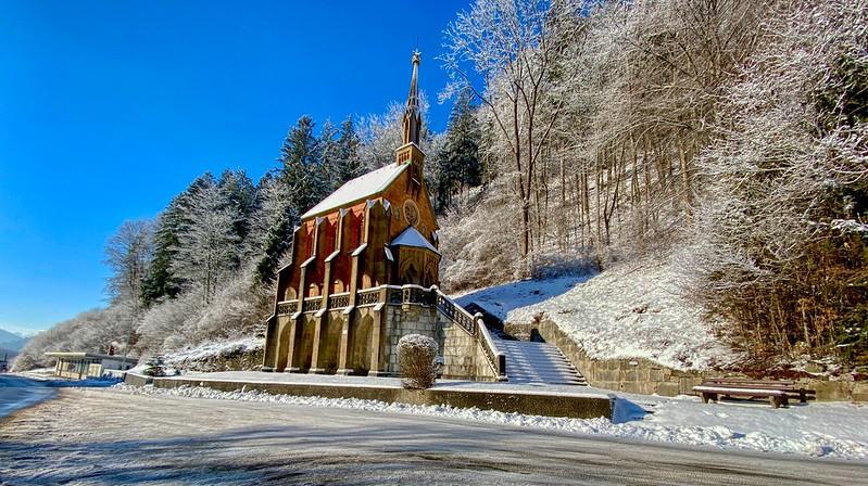 King Otto Chapel in winter in Kiefersfelden in Bavaria, Germany