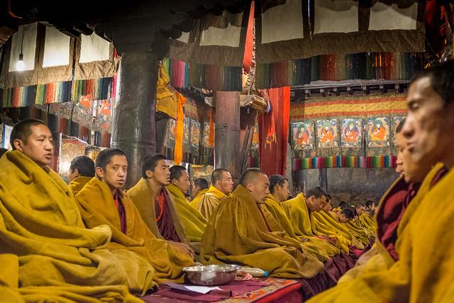 Monks in the monastery, Tibet