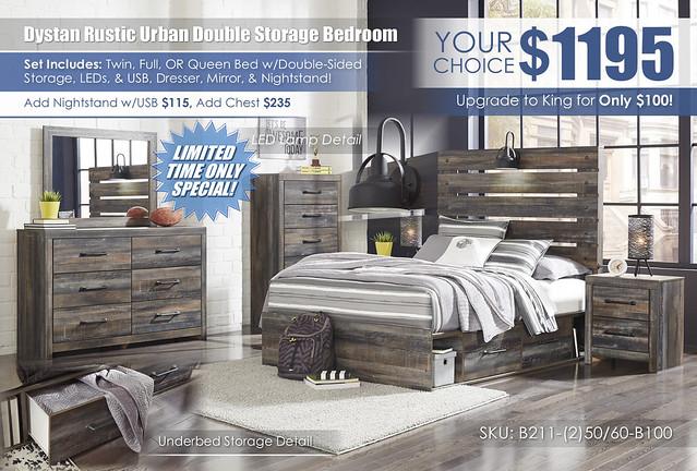Drystan Urban Rustic Double Storage Bedroom Set_B211_Update2021