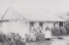 George and Mary Eden with son George, 1890s, outside their house in Beltunga Gully, Willunga