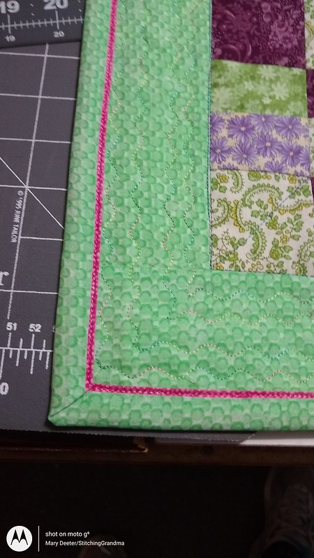 close up of quilting and binding