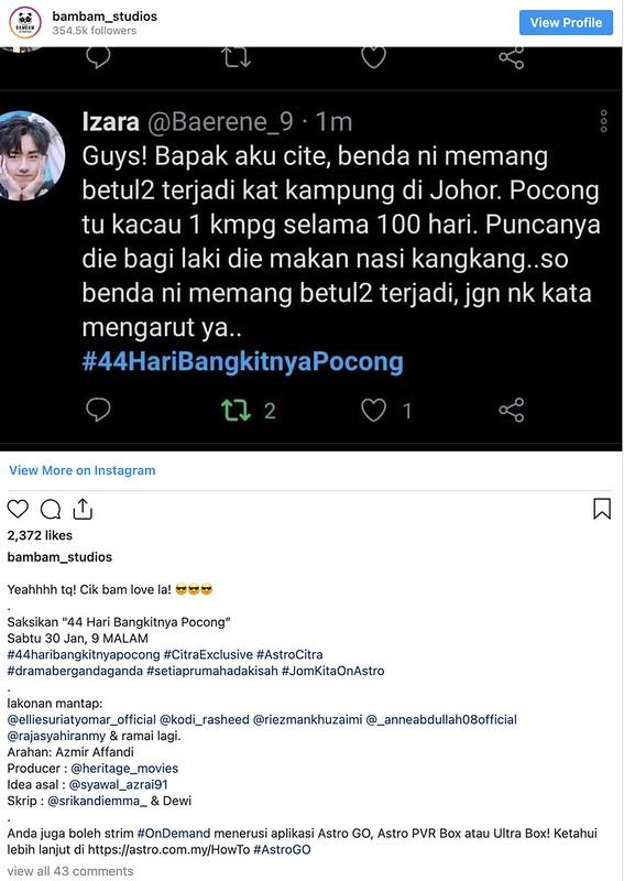 Drama 44 HARI BANGKITNYA POCONG Trending, Babak Nasi Kangkang Ellie Suriaty Jadi Tular