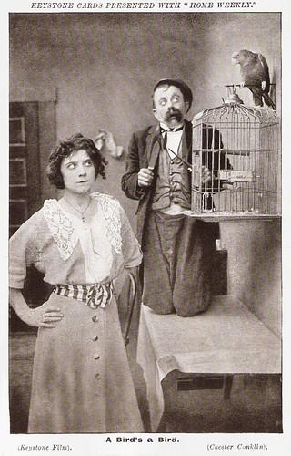 Chester Conklin and Minta Durfee in A Bird's A Bird (1915)