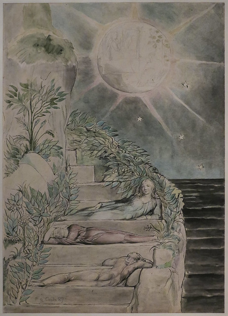 Dante and Statius sleeping, Virgil watching (illustration to the 'Divine Comedy', Purgatorio XXVII), 1824-7, William Blake
