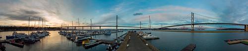 djimini2 forthbridges portedgar southqueensferry panorama scotland boat bridge cloud drone harbour landscape marina river sky water waterscape winter yacht