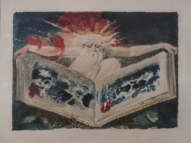 Gowned Male (probably Urizen), Sitting Examining a Book, 1794, William Blake