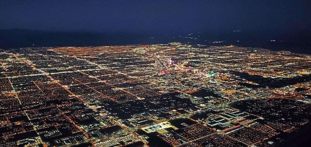 Flying into Las Vegas at night