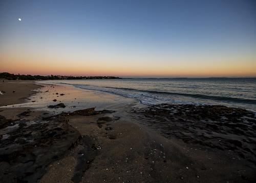 nz newzealand rangitotoisland hauraki gulf takapuna beach sunrise tide morning landscape waterscape moon rocky auckland