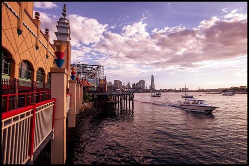 sydney harbour sydneyharbour coneyisland lunapark boardwalk lavenderbay sunset sydneywatertaxi bay boat crowncasino barangaroo