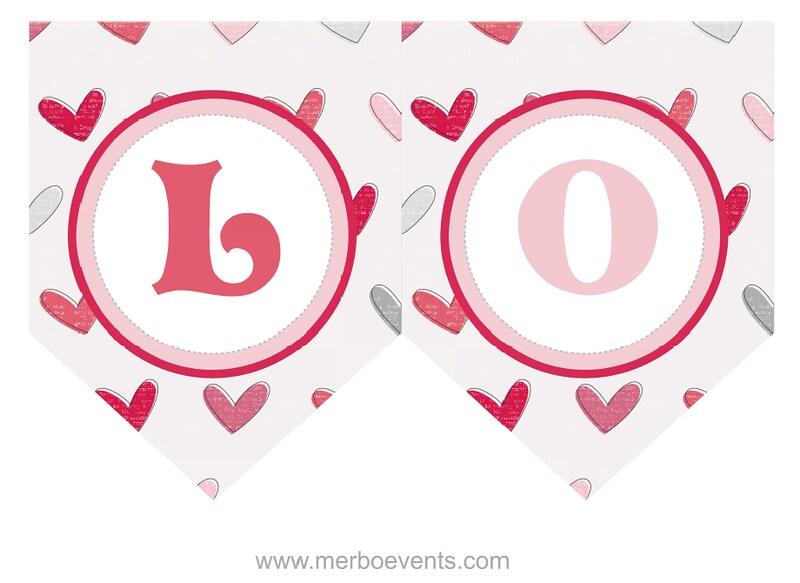 Banderin Kit imprimible Love Merbo Events