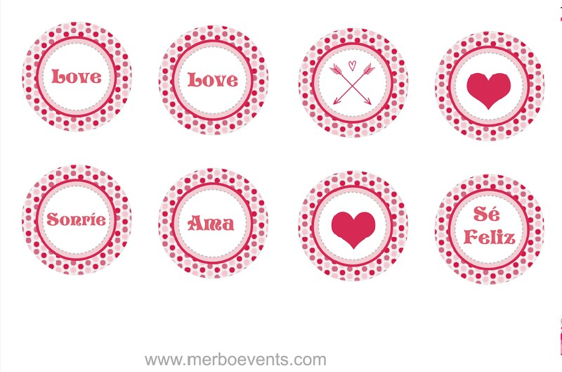 toppers Kit imprimible Love Merbo Events