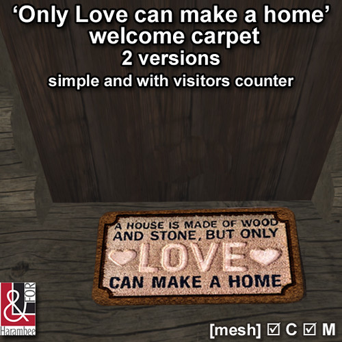 'Only Love can make a home' welcome carpet