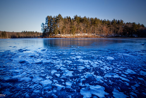 burges pond westford stony brook nature hiking ice winter landscape