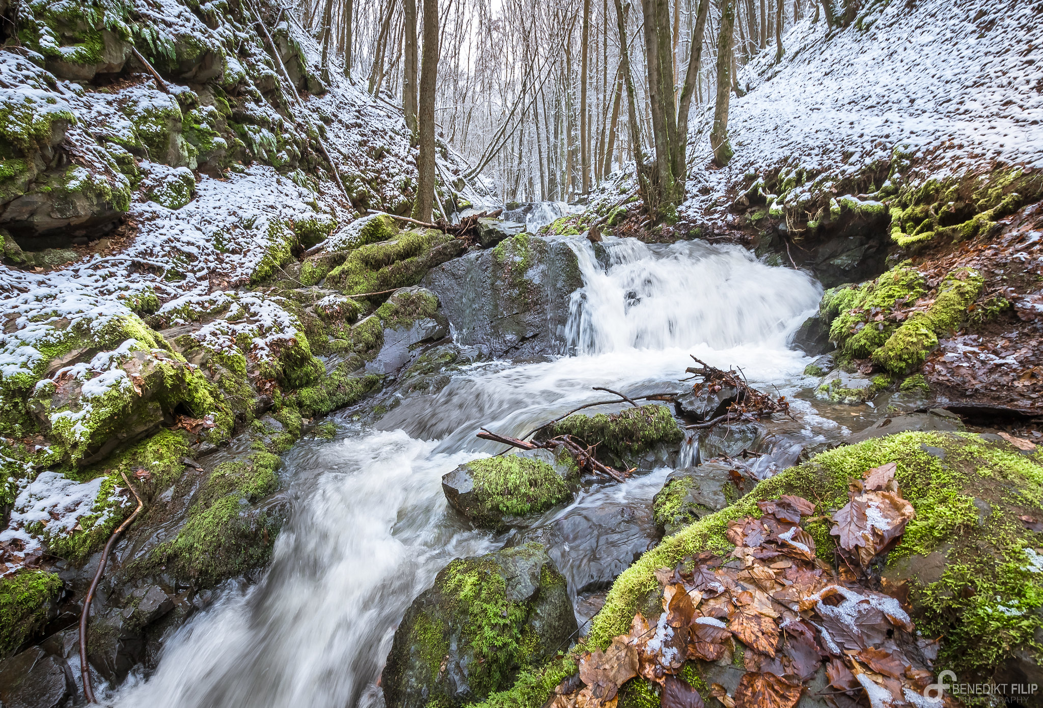 Trübenbach waterfalls in winter