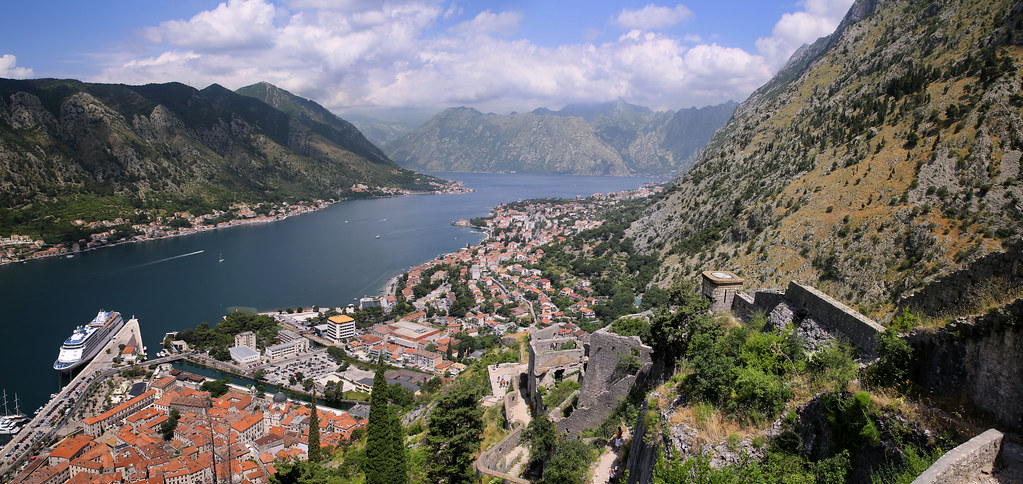 The walls of St John's Fortress high above the Bay of Kotor