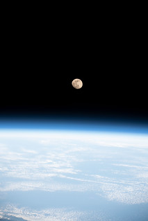 The waxing gibbous Moon above the South China Sea | by NASA Johnson