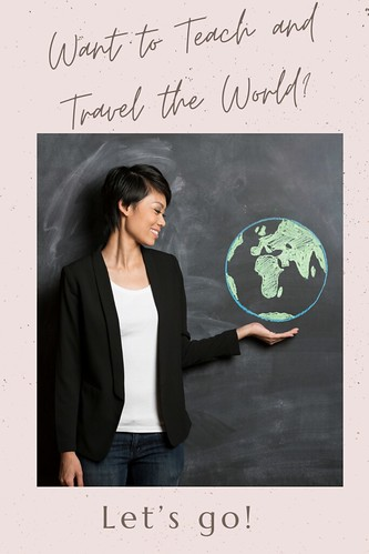 Woman in front of a chalkboard with a globe drawn on it. From Want to Teach and Travel the World? Let's go!