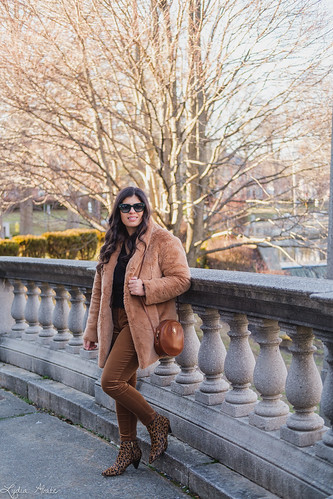 black fringe sweater, faux fur coat, brown corduroy pants-4.jpg | by LyddieGal