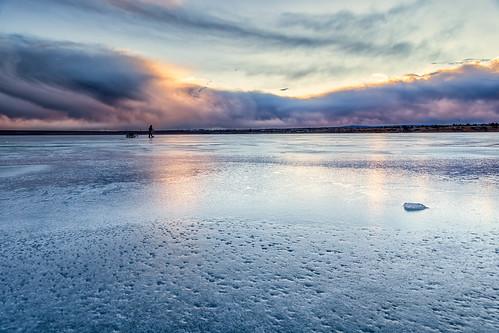 sunrise dawn daybreak ice clouds reflections silhouette fisherman landscape landscapes chatfieldstatepark lakechatfield colorado