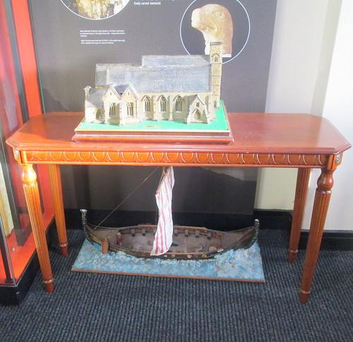 Model of St Peter's Church, Monkwearmouth, plus Viking Longship