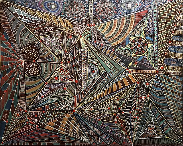 Subterranean, Acrylic mix on hardboard 41 x51 cm, By Farshad Sanaee he Apple.