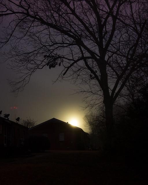 Lights through twilight mist