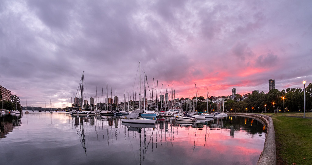 The sun tried to make an impression on Sydney's Rushcutters Bay this morning.