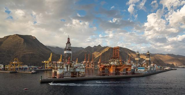 Oil Platforms in Santa Cruz de Tenerife Harbor