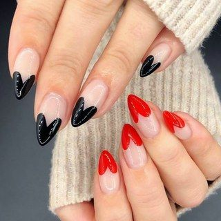 The Best Valentine's Day Nails on Pinterest | Red Black Nails | Valentine Nails | Heart Nails | Valentines Day Nails | February Nails
