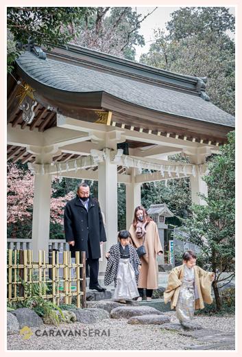 針名神社で七五三 5才と3才の兄弟そろって 冬(1月)
