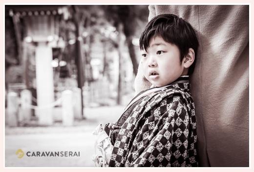 七五三の衣装は市松模様の羽織 5歳の男の子