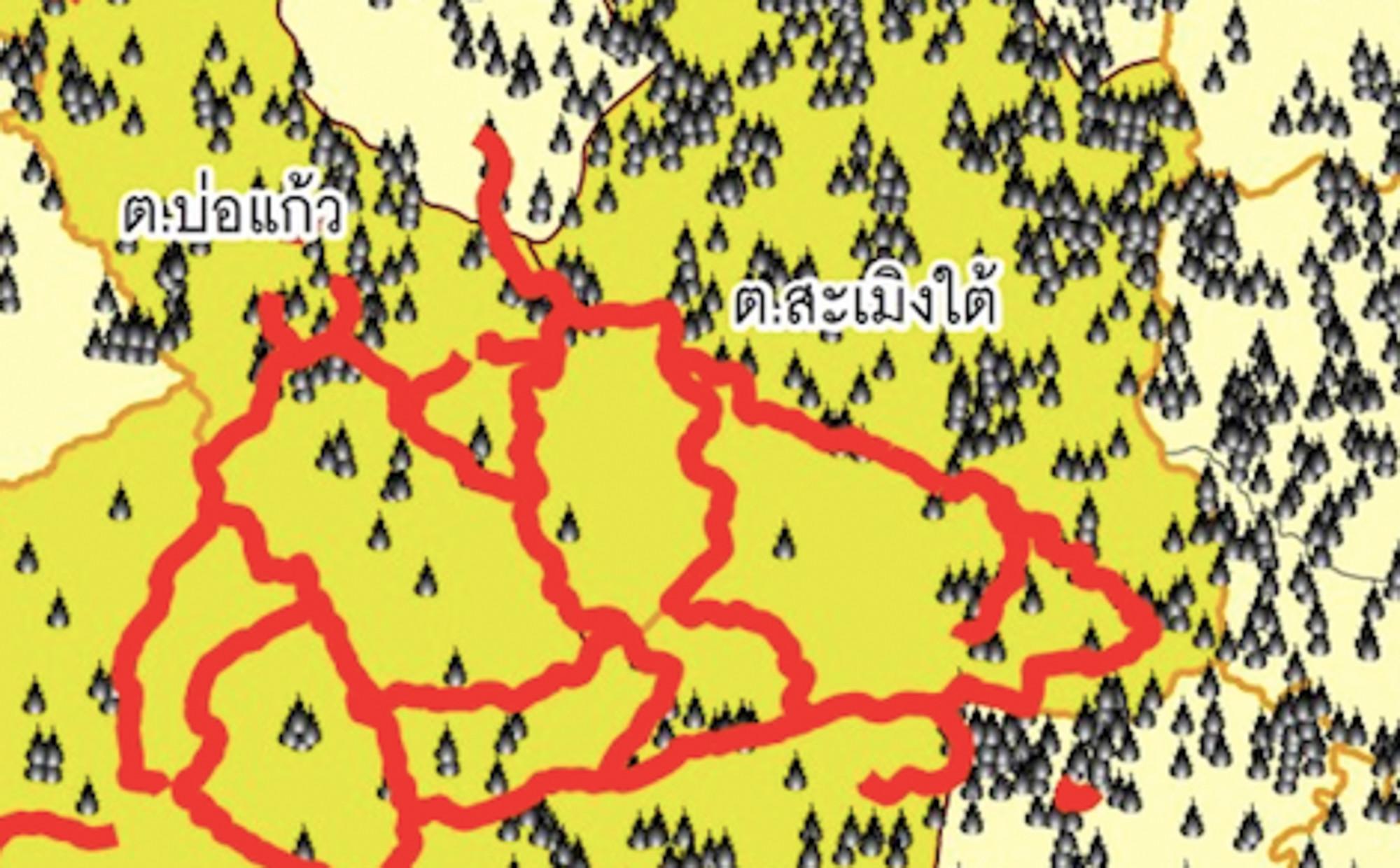ข้อมูลปี 2562 แสดงแนวเขตและอัตราการเกิดไฟป่าระหว่างพื้นที่ที่ชาวบ้านดูแล (สีเหลืองเข้ม) และพื้นที่รับผิดชอบของอุทยานแห่งชาติออบขาน (สีเหลืองอ่อน) (ที่มา: มูลนิธิพัฒนาภาคเหนือ)
