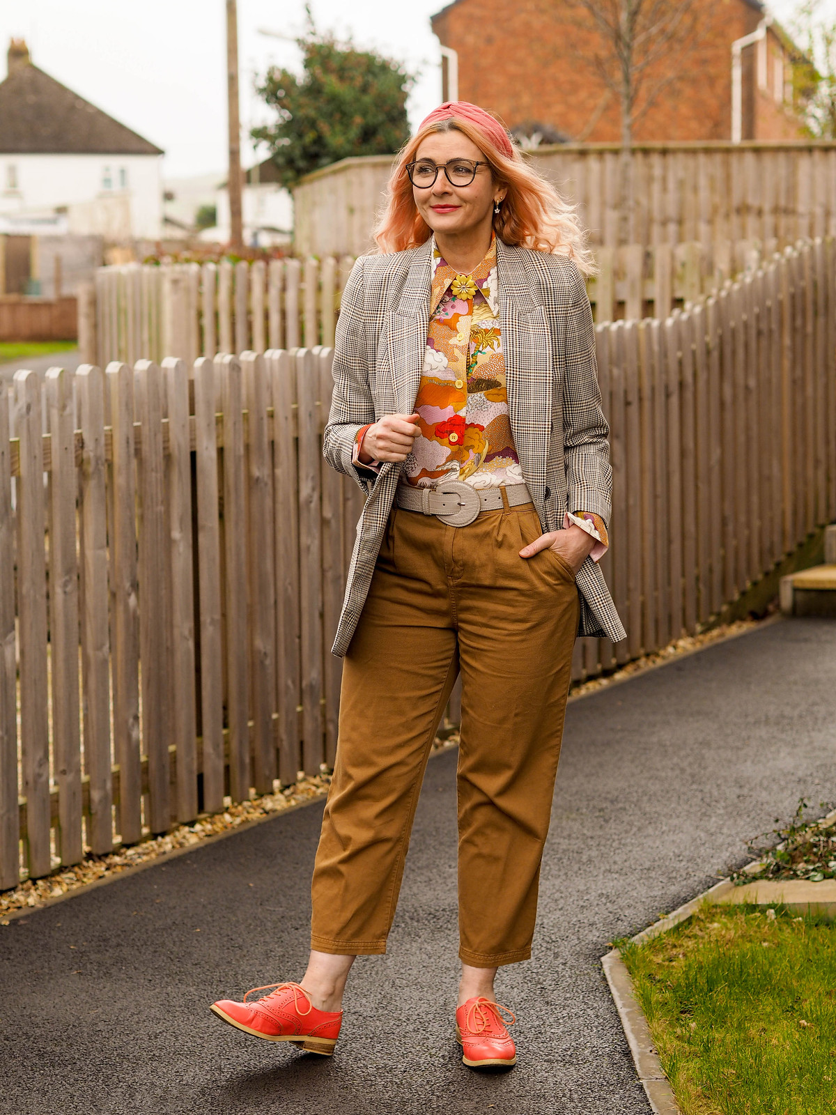 Screw Lockdown, Let's Just Play Dress Up | Not Dressed As Lamb, Over 40 Fashion Blogger, wearing Prince of Wales check jacket, orange, yellow and pink patterned Stine Goya shirt, tobacco brown paper bag trousers, coral orange brogues
