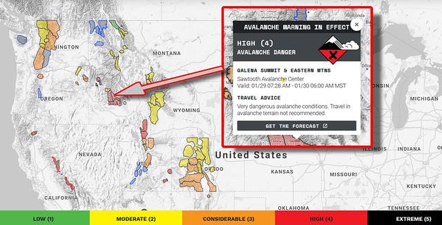 Avalanche warning map