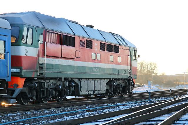 Пассажирский тепловоз ТЭП70к-0251 на станции Могилёв-2 (Беларусь).