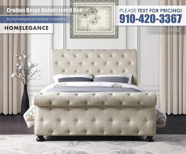 Crofton Beige Upholstered Bed_1549BE