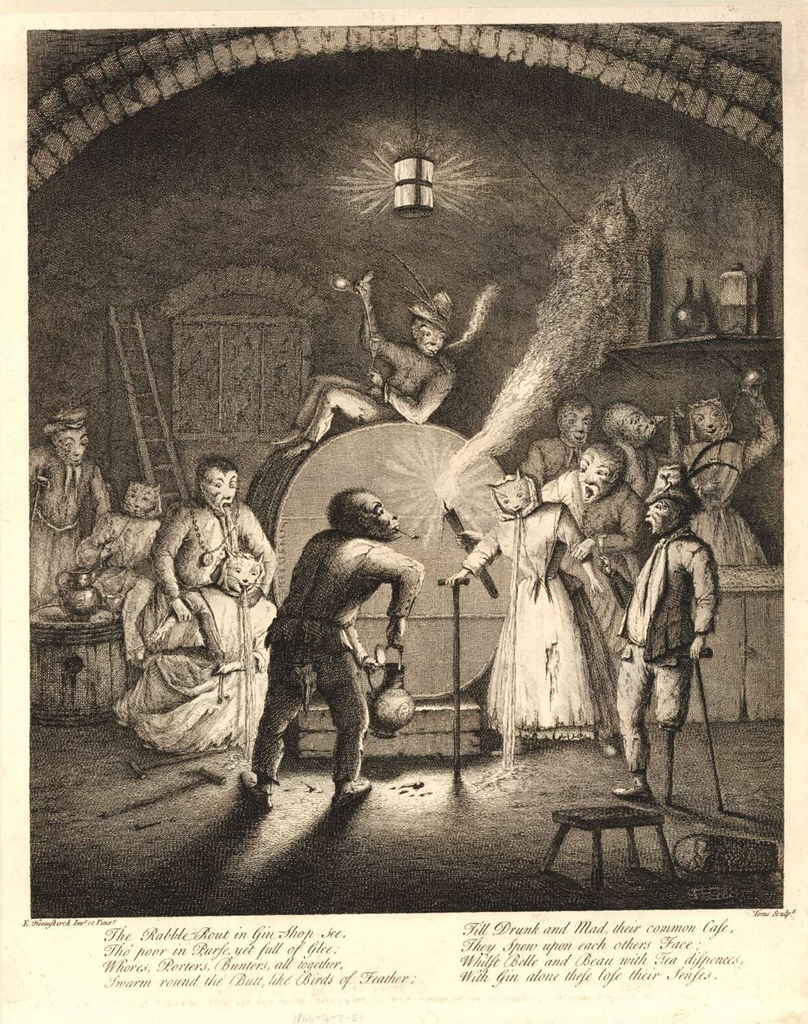 """Egbert von Heemskerck - """"The Rabble -Rout in Gin Shop see, Tho' poor in Purse, yet full of Glee..."""" Engraving by Toms after E. Heemskerck, 1730"""