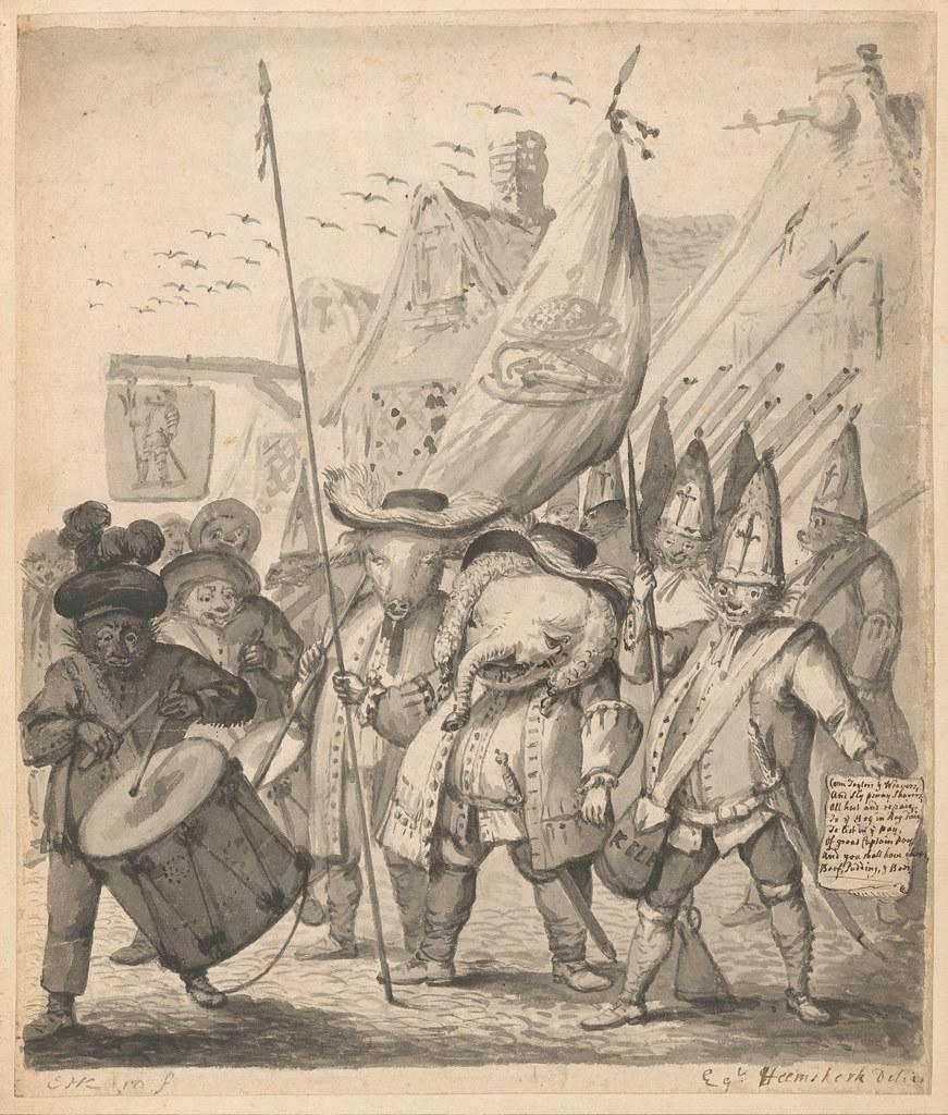 Egbert van Heemskerck (II) - Animal Satire, second composition, 1674 - 1744