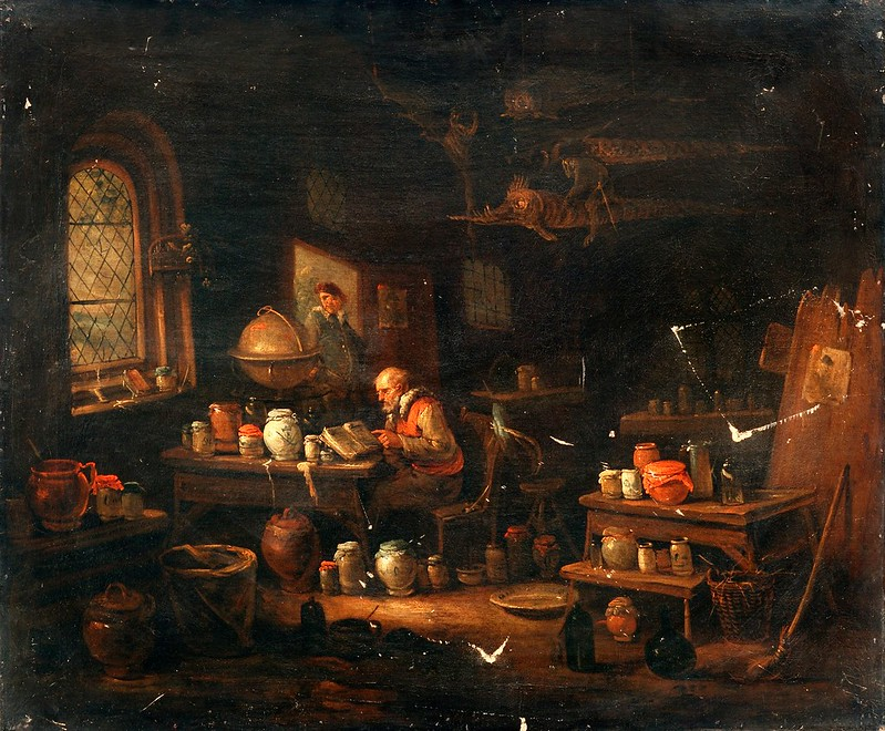 Egbert van Heemskerck II - An Alchemist Or Apothecary In His Laboratory