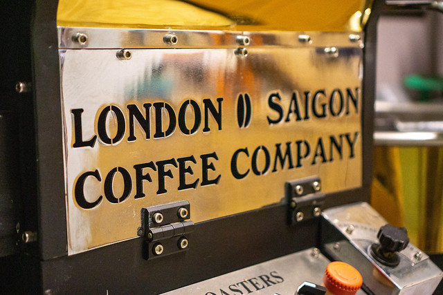 Close Up Photo of London Saigon Coffee Company Brand Name on an Electric Coffee Roasting Machine