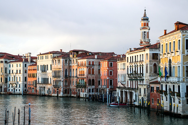 Golden light, view from Rialto bridge on the Canal Grande , Venice, Italy