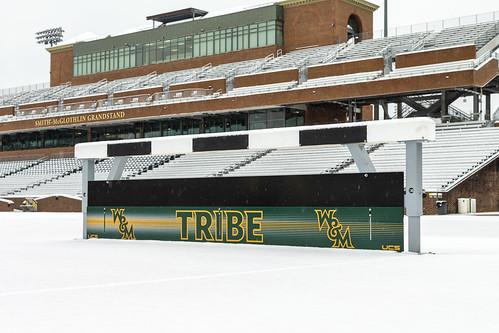 Scenes from a snow day: fresh fallen snow on Walter J. Zable Stadium