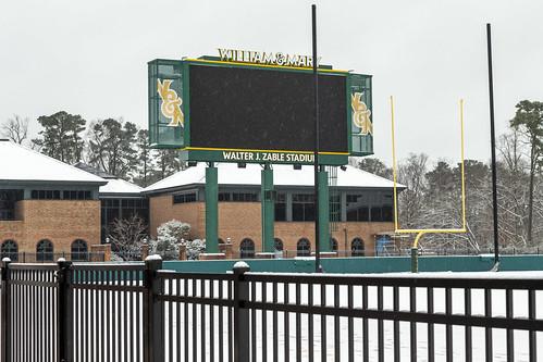 Scenes from a snow day: Zable Stadium scoreboard