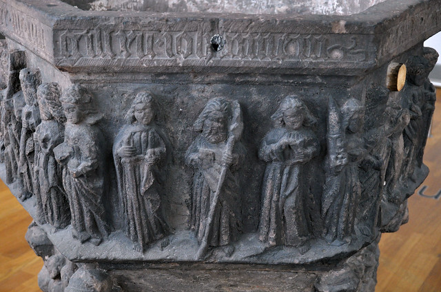 Hannover, Niedersachsen, Niedersächsisches Landesmuseum, baptismal font from the Martinskirche in Dransfeld, detail
